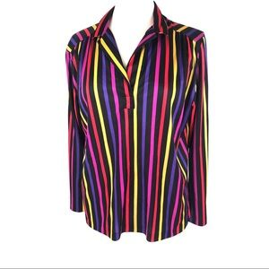 Vintage 70's Rainbow Striped Top Blouse Shirt